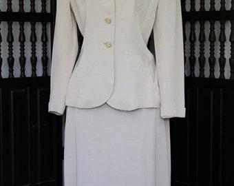 1940s Ivory Raw Silk Honeymoon Suit