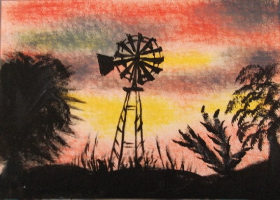 Aceo painting Original Acrylic windmill country farm sundown trees
