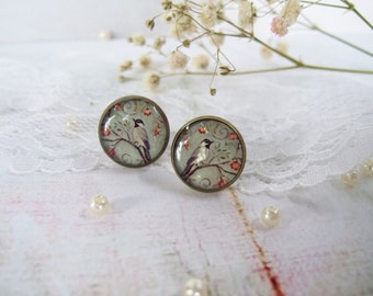 Round Resin Post Earrings Studs Earrings Pusset Earrings Boho Tribal  Vintage Birds Jewelry Gift for Her Bridesmaids Gift Birds Earrings