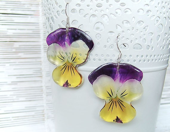 Resin Transparent Earrings Violet/Yellow Pansies Flowers
