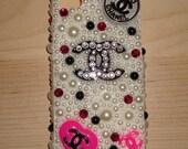 Pearl Rhinestone Handmade Decoden iPhone 4, iPhone 4S case