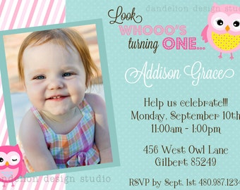 PRINTABLE Photo Invitation - One Photo Invite - Owl Party Collection - Dandelion Design Studio
