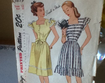 "Simplicity Vintage Dress Pattern 1879 Size: 12,  Bust  30"",  Waist 25"",  Hip 33"""