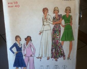 "1970s Vintage Butterick Pattern 3142, Top, Skirt & Pants Size: 18, Bust  40"""