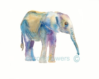 Children's Art, Baby  Elephant, NurseryArt,  Animal Painting,Nursery Art Print, Kids Art