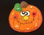 Funky Face Crazy Eyes Pumpkin Pin for Halloween Design 5