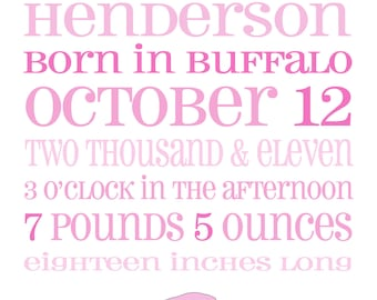 newborn stats 8x10 giclée print