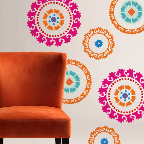 Wall stencil kids room mexican pattern wall room by omgstencils - Design patterns wall painting ...