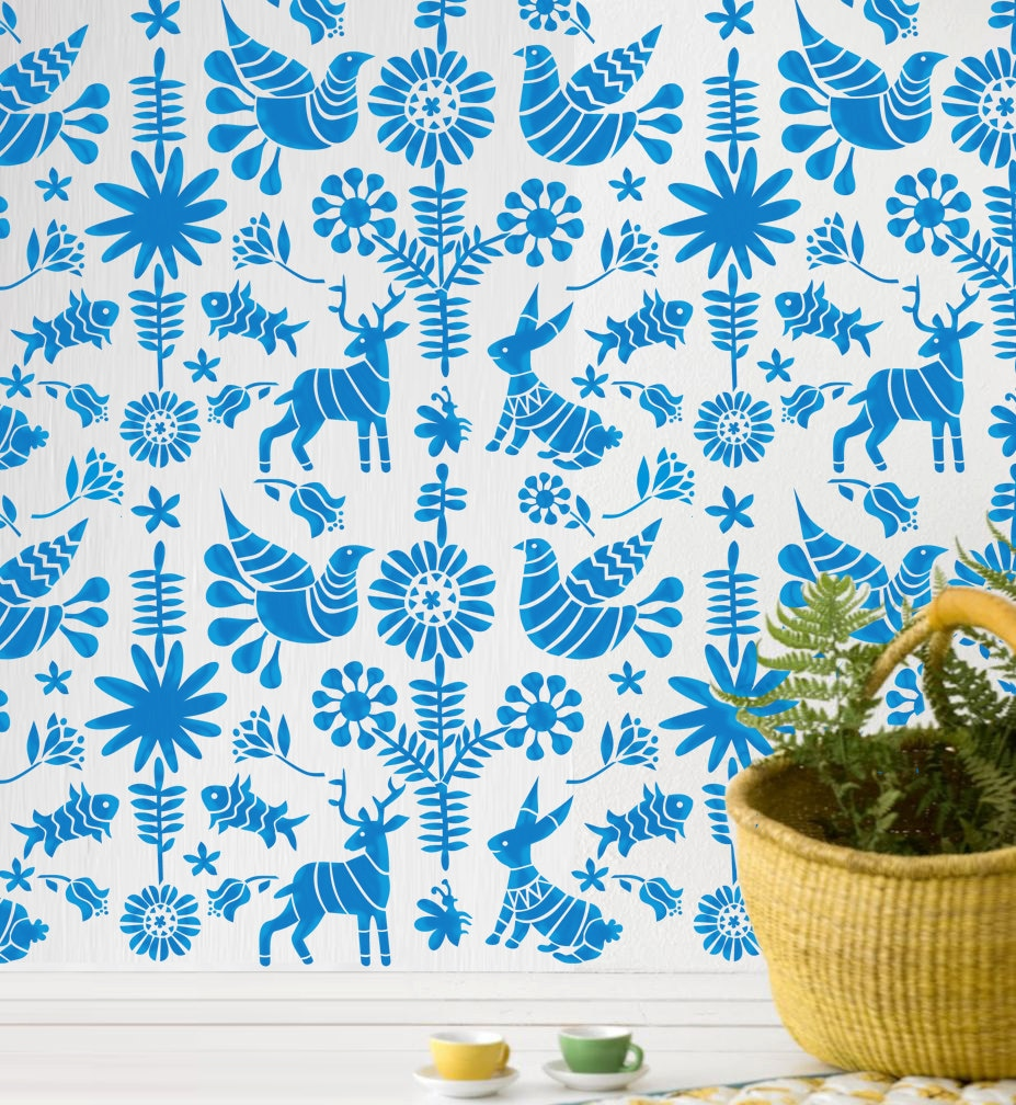 Wall Stencil Kids Room Mexican Otomi Pattern Wall by