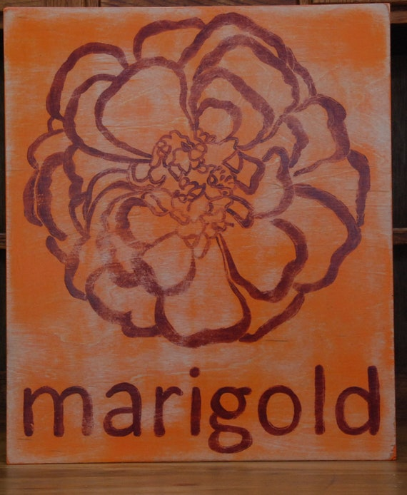 Typography style. Marigold  hand-painted wooden sign 16 x 19