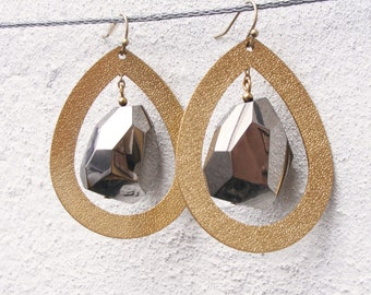 Big teardrop gold and silver nugget earrings
