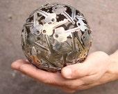 Small 13 cm key ball, Key sphere, Metal sculpture ornament