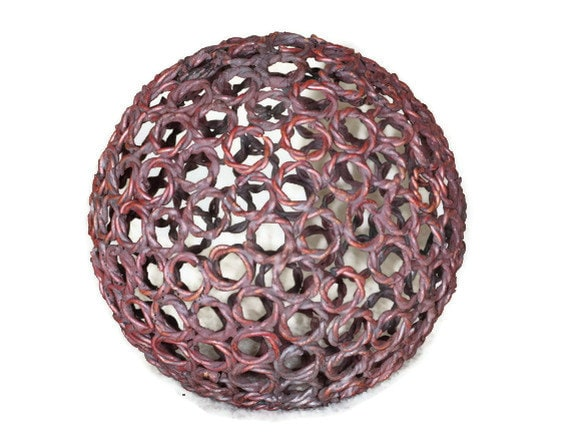 Small twisted wire copper ring ball, 12.5 cm Copper sphere, Metal sculpture