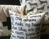 Reversible Linen Pillow- Handprinted