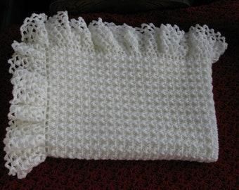 Soft White Baby Blanket/Afghan