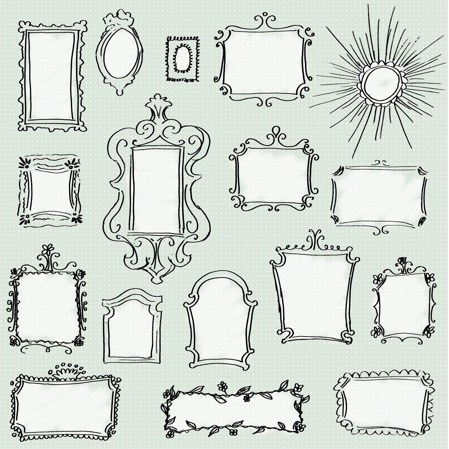 CLIP ART: Doodle Frames Pack // Set of 17 Unique Hand-drawn