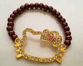 Gold HK bling with metallic brown bead bracelet