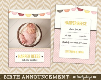 Baby Announcement template Birth Announcement Girl INSTANT DOWNLOAD 5x7""