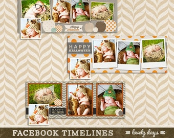 Halloween Facebook timeline covers photoshop template Set of 3 INSTANT DOWNLOAD