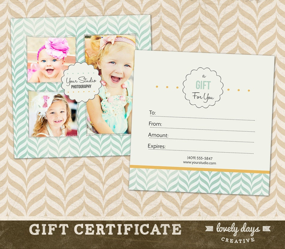 Photography Gift Certificate Template for by LovelyDaysCreative