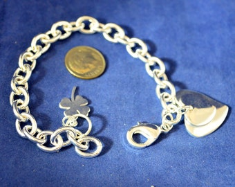 """Silver Charm Bracelet, 7.5"""" Long, Solid Silver Filled with Shamrock and Heart Charms,  B77"""