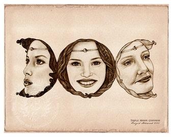 Triple Moon Goddess -  Pagan Wiccan Print - Brigid Ashwood