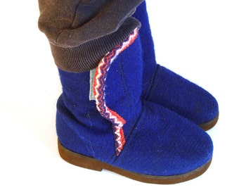 Winter boots for kids,  Soviet blue felt  boots, Christmas gift , winter accessory