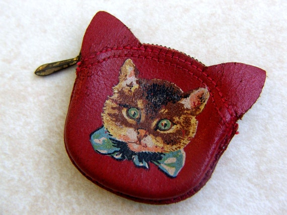 Vintage Coin Purse, Red Leather, Kitten Decal, Change Purse
