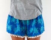 Pom Pom Shorts, Pineapple Pants - 70's inspired gym shorts