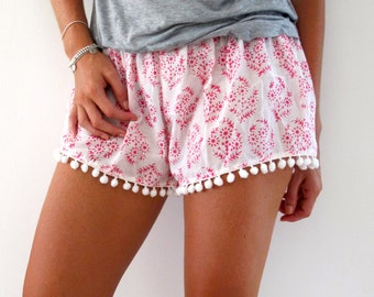Bright Pink Patterned Pom Pom Shorts - 1970s inspired shorts with Pom Poms, Christmas Stocking Filler