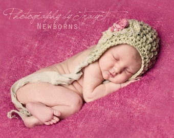 Newborn Vintage Inspired Crochet Baby  Bonnet, Newborn Baby Girl Bonnet Photo Prop Hat, Baby Girl Bonnet, Shabby Chic Baby Bonnet