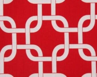 Handmade Curtain Valance, 50W x 15L, in Red/White Geomtric/Gotcha ,Home Decor,Nursery