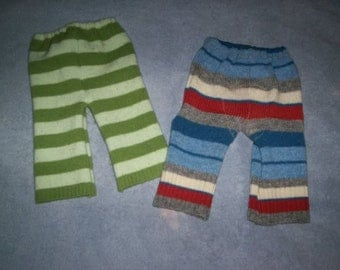 Custom Recycled Wool Longies (upcycled wool sweater baby pants for use as a diaper cover)
