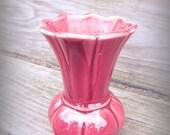 Vintage 1940s Dark Red Maroon USA Vase