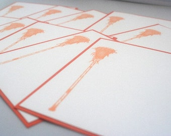 Lacrosse Stick Orange, Blue or Red Flat Hand Made Note Cards Set of Ten, Lax Stationery, Kids Note Cards, Kids Stationery