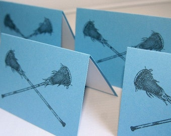 Lacrosse Stick All Occasion Note Card Stationery Set of Ten, Lax Note Cards, Sports Card Sets