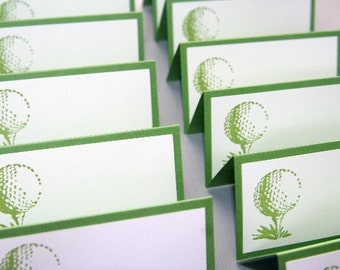 Golf Ball Place Cards Food Labels Set of Twelve, Wedding Place Cards