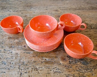 Mid Century Coral Speckled Melmac Cups and Plates
