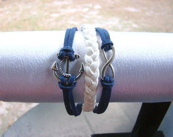 Nautical Anchor Infinity Leather Bracelet