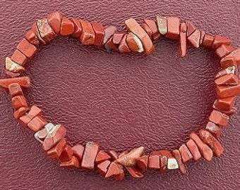 breciated jasper chip beads stretch bracelet