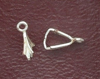 two 9mm ice pick pendant bails sterling silver