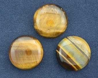 3 - 15mm round tigereye cabochon gem stone gemstone