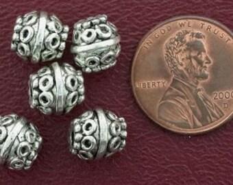 5 8mm ornate barrel bali pewter beads
