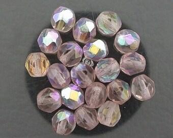 20 light amethyst ab czech fire crystal facet beads 6mm