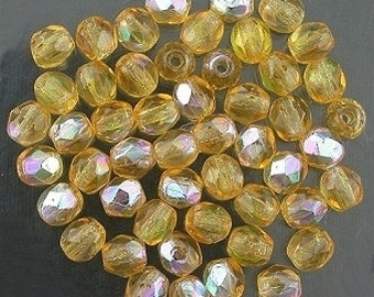 25 medium topaz  ab czech fire crystal beads 4mm