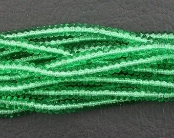 50 czech green peridot 4mm rondelle  spacer bead