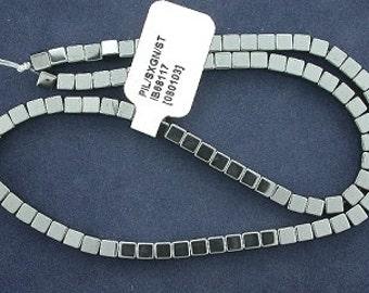 4mm cube square hematite bead strand gem stone gemstone