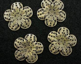 four 37mm ornate bronze color filigree findings