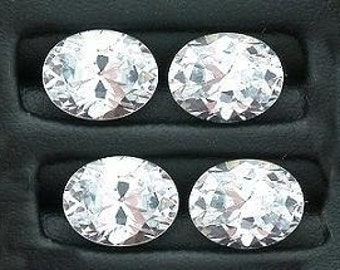 TWO 9x7 oval white cubic zirconia gem stone gemstone