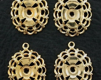 four gold plated 10x8  filigree cabochon mounting